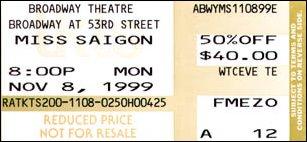 Eintrittskarte zum Broadway Theater für Miss Saigon, New York