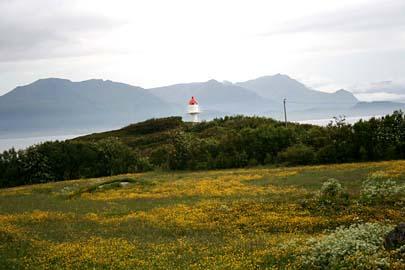 Leuchtturm bei Dragnes, Vesterälen, Norwegen