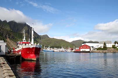 Hafen von Ballstad, Lofoten, Norwegen