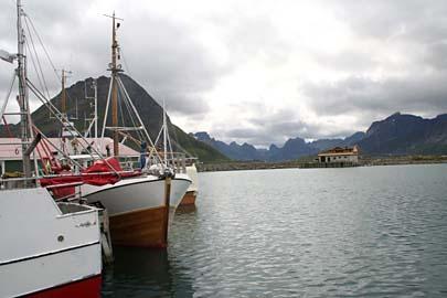 Hafenidylle auf Moskenesoy, Lofoten, Norwegen