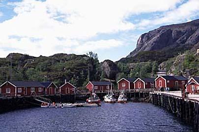 Hafen in Nusfjord, Lofoten, Norwegen