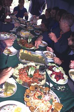 am Ende des dritten Tages gibt's tolles Essen, Inka Trail, Peru