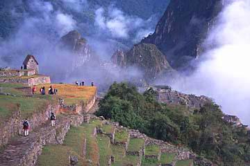 auf den letzten Metern zu den Ruinen von Machu Picchu, Peru