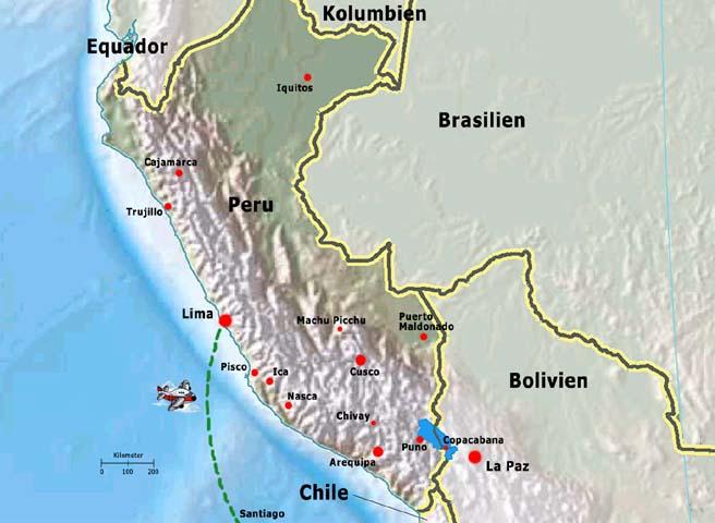 Landkarte von Peru mit Lima, Nasca, Arequipa, Cusco, Titikaka-See und Machu Picchu