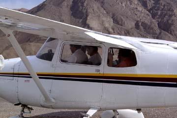 mit der Chessna fliegen über den Scharrbildern von Nasca, Peru