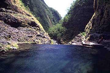 am Becken der Cascade du Chaudron, Réunion