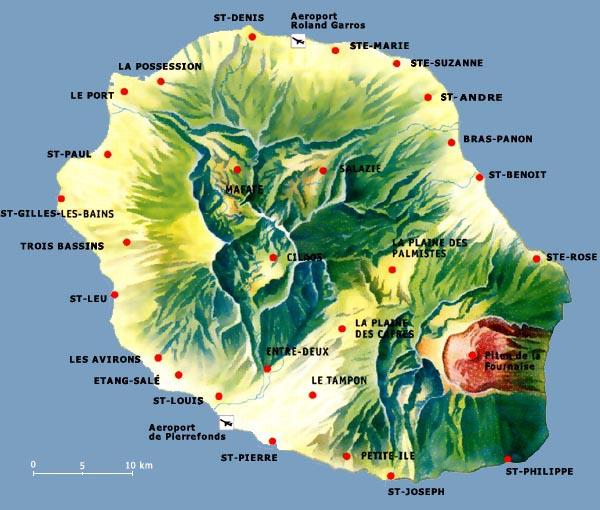 Landkarte La Reunion mit Karte und Überblick aller Sehenswürdigkeiten