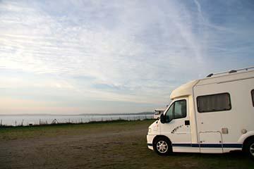 unser Übernachtungsplatz an der Ostsee bei Neu Mukran, Insel Rügen