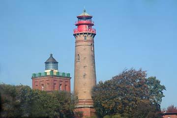 Blick zu altem Schinkelleuchtturm und Neuem Leuchtturm von Arkona, Nordrügen