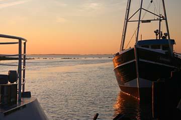 Sonnenuntergang am Hafen von Schaprode, Rügen