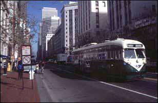die alte Straßenbahn in der Market Street, San Francisco