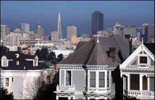 die postcard row - das Alamo Square von San Francisco