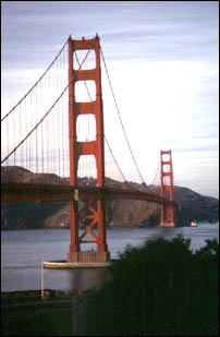 die Golden Gate Bridge am Abend, San Francisco
