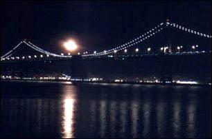 Blick von der Waterfront von San Francisco auf die Oakland Bay Bridge