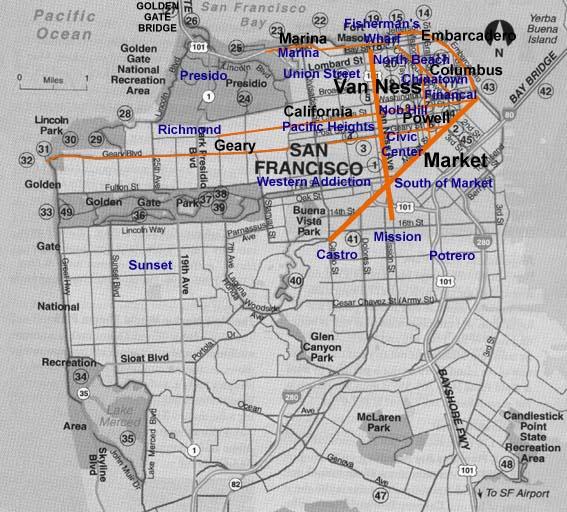 San Francisco Stadtplan Wichtige Strassen Und