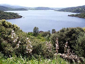 Landschaft auf der Wanderung am Lago di Liscia auf Sardinien, Italien