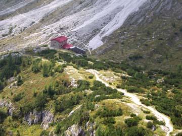 das letzte Stück zur Berti-Hütte in den Sextner Dolomiten