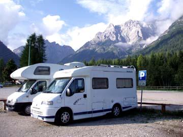 unser Stellplatz bei der Rotwandbahn in Moos, Südtirol