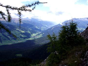 der Ausblick von der Gautraste in den Sextner Dolomiten, Südtirol