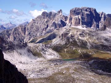 der Ausblick vom Büttelejoch in den Sextner Dolomiten