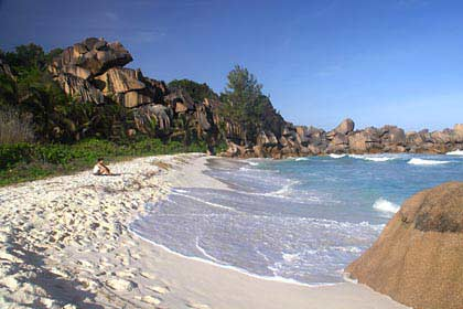 Ein Traumstrand auf der Seychellen Insel La Digue