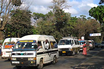 Kleinbusse auf den Straßen von Arusha
