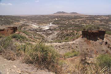 Die Ausgrabungsstäten an der Olduvai-Schlucht