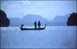 Fischerboote in Phang Na, Thailand