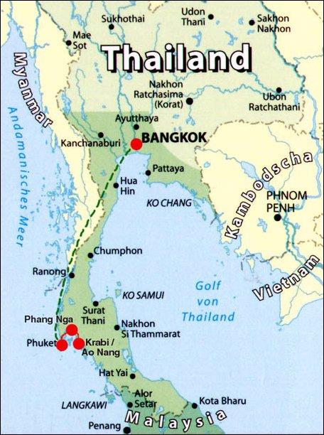 Thailand Landkarte Und Reiseroute Fur Den Suden