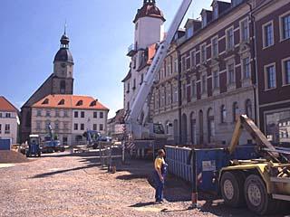 der Marktplatz mit dem Rathaus in Schmölln