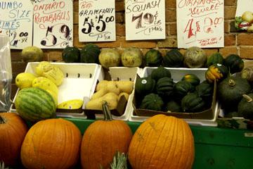 Kürbisse im St. Lawrence Market, Toronto, Kanada