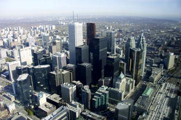 Finanzdistrikt vom CN Tower, Toronto, Kanada