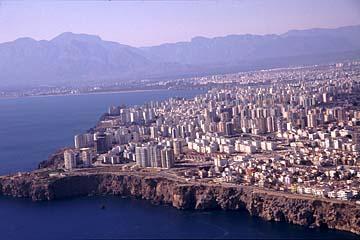 der Anflug auf Antalya, türkische Riviera