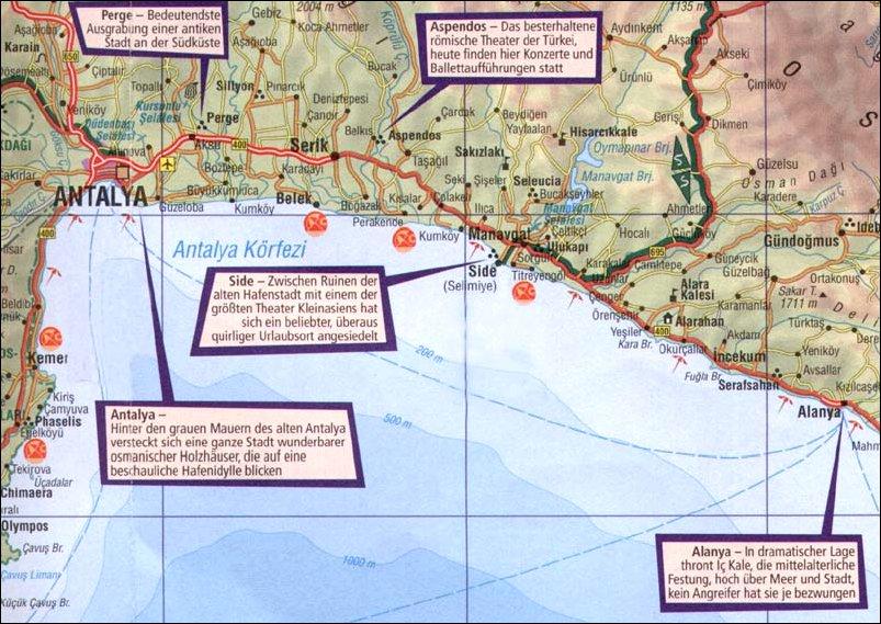 Die Turkische Riviera Landkarte Und Reiseplanung