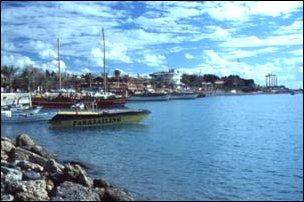der Hafen von Side, türkische Riviera