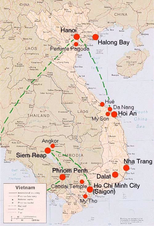 Kambodscha Karte.Vietnam Landkarte Und Reiseroute Fur Den Urlaub