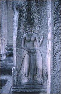 Verzierungen im Tempel von Angkor Vat in Kambodscha