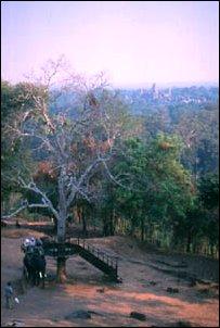 Sonnenuntergang am Phnom Bakheng Berg in Angkor, Kambodscha
