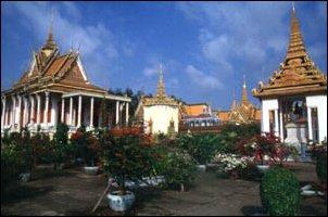 Der Komplex der Silverpagode im Königspalast von Phnom Penh, Kambodscha