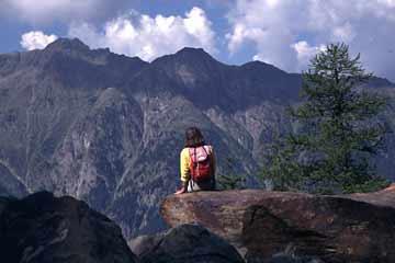 Ausblick vom Gsponer Höhenweg, Wallis, Schweiz