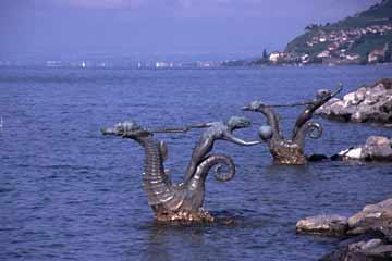 am Genfer See bei Vevey, Wallis, Schweiz
