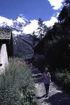 Aufstieg zur Petit Mountet-Hütte, Wallis, Schweiz