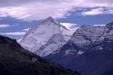 Blick vom Hotel  Weisshorn-Hütte, Wallis, Schweiz