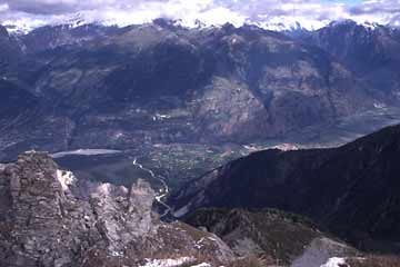 Blick vom Illhorn ins Tal, Wallis, Schweiz