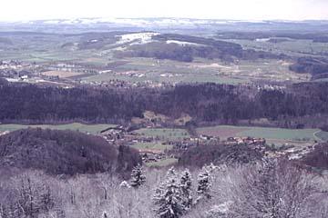 Blick vom Ütliberg bei Zürich auf die Stadt Zürich, den See und die Alpen