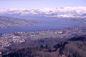 Blick auf den Zürichsee und die schweizer Alpen