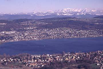 Zürich mit die Blick auf den Zürichsee, Schweiz